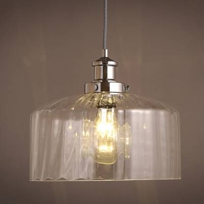 Drum Shape Clear Glass Mini Pendant Light – Beautifulhalo Regarding Most Popular Clear Glass Mini Pendant Lights (View 6 of 15)