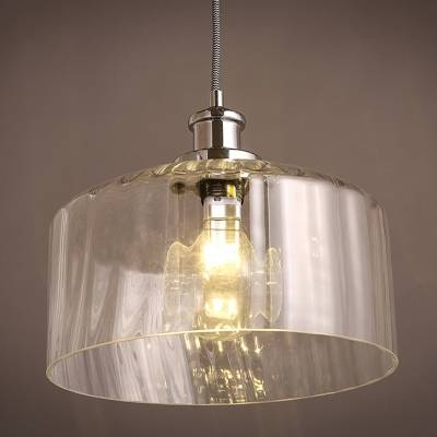 Drum Shape Clear Glass Mini Pendant Light – Takeluckhome Within Most Up To Date Clear Glass Mini Pendant Lights (View 7 of 15)