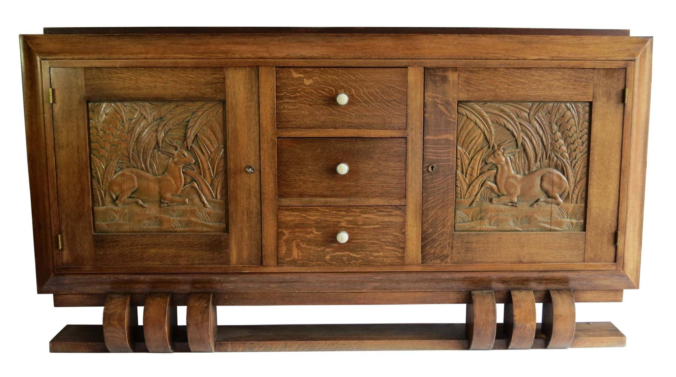 Dudouyt French Art Deco Sideboard With Carved Biches | Modernism Regarding Most Recently Released Art Deco Sideboards (#5 of 15)