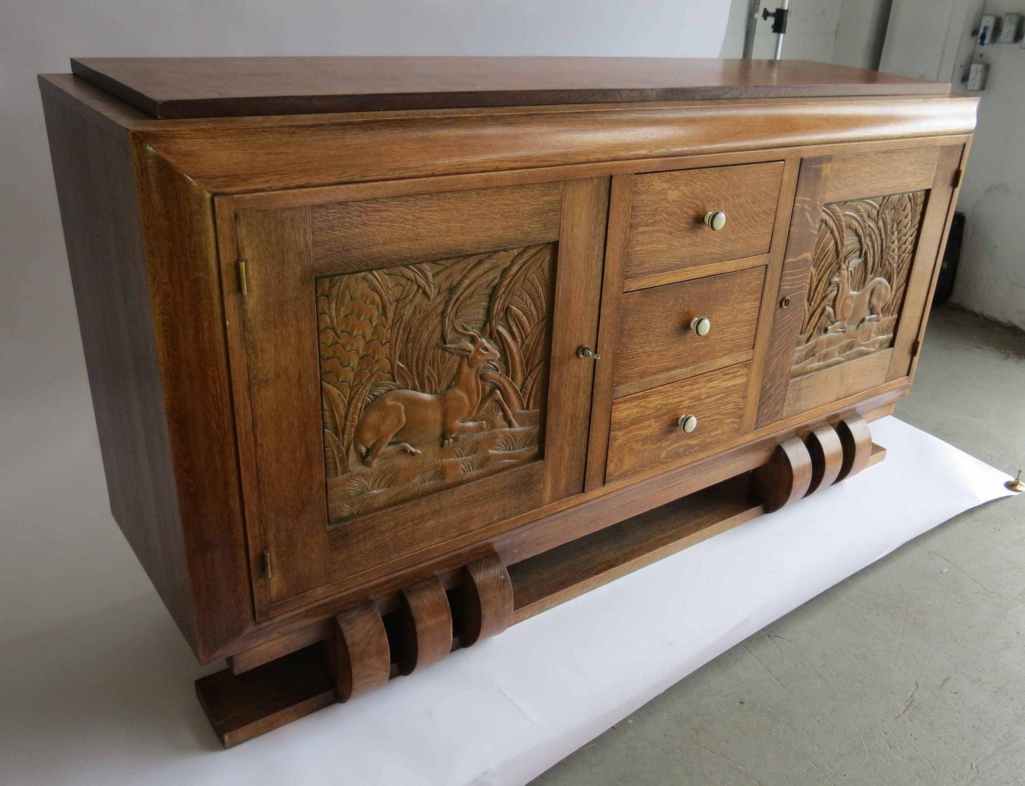 Dudouyt French Art Deco Sideboard With Carved Biches | Modernism Throughout Recent Art Deco Sideboards (#6 of 15)