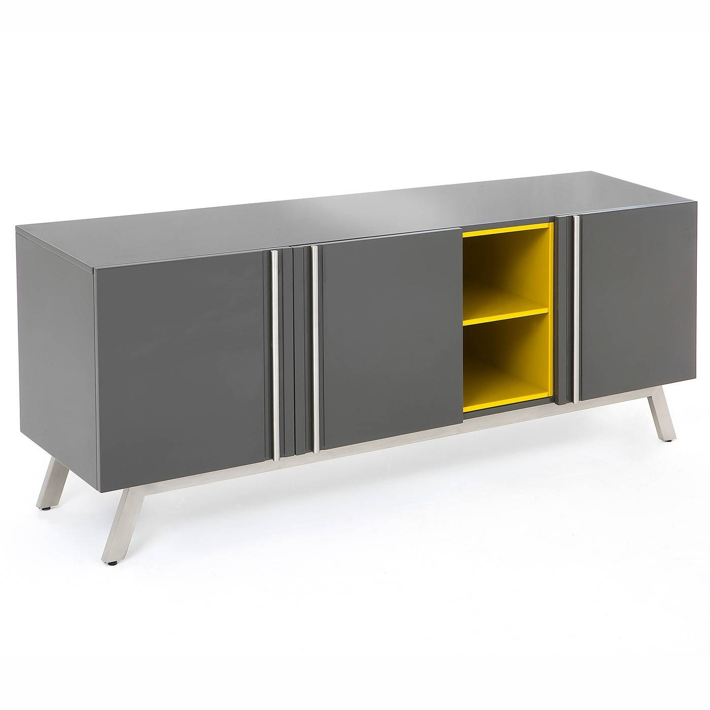 ✓ Vestina Grey/yellow High Gloss Large Sideboard Redtree, Red Throughout Most Recent High Gloss Grey Sideboards (View 11 of 15)
