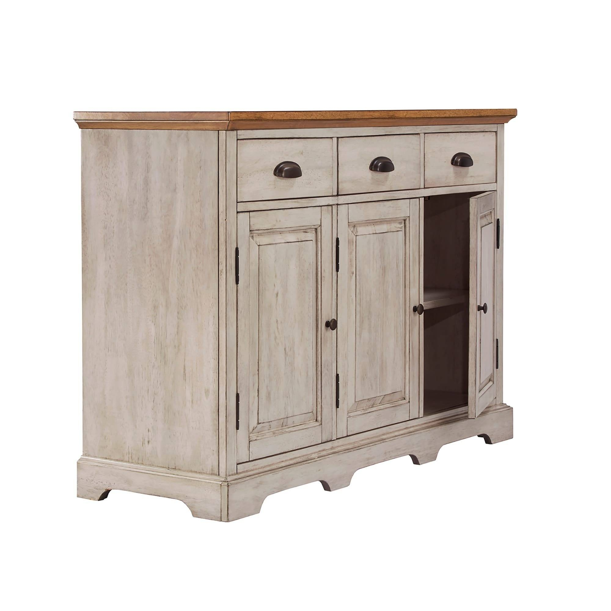 Eleanor Two Tone Wood Cabinet Buffet Serverinspire Q Classic Within Best And Newest 50 Inch Sideboards (#10 of 15)