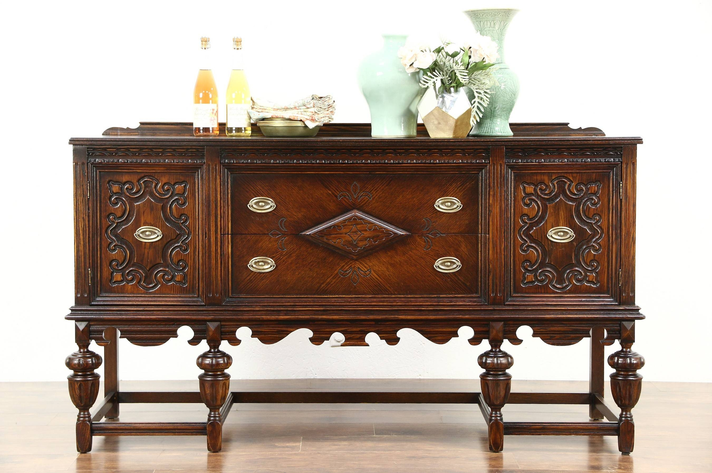 English Tudor 1920 Antique Carved Oak Sideboard, Server Or Buffet In Most Up To Date Antique Oak Sideboards (#6 of 15)
