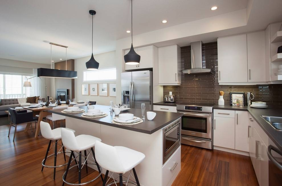 Exquisite White Cabinets And Dark Countertop Combination For Regarding Latest Mini Pendant Lights For Kitchen (View 6 of 15)