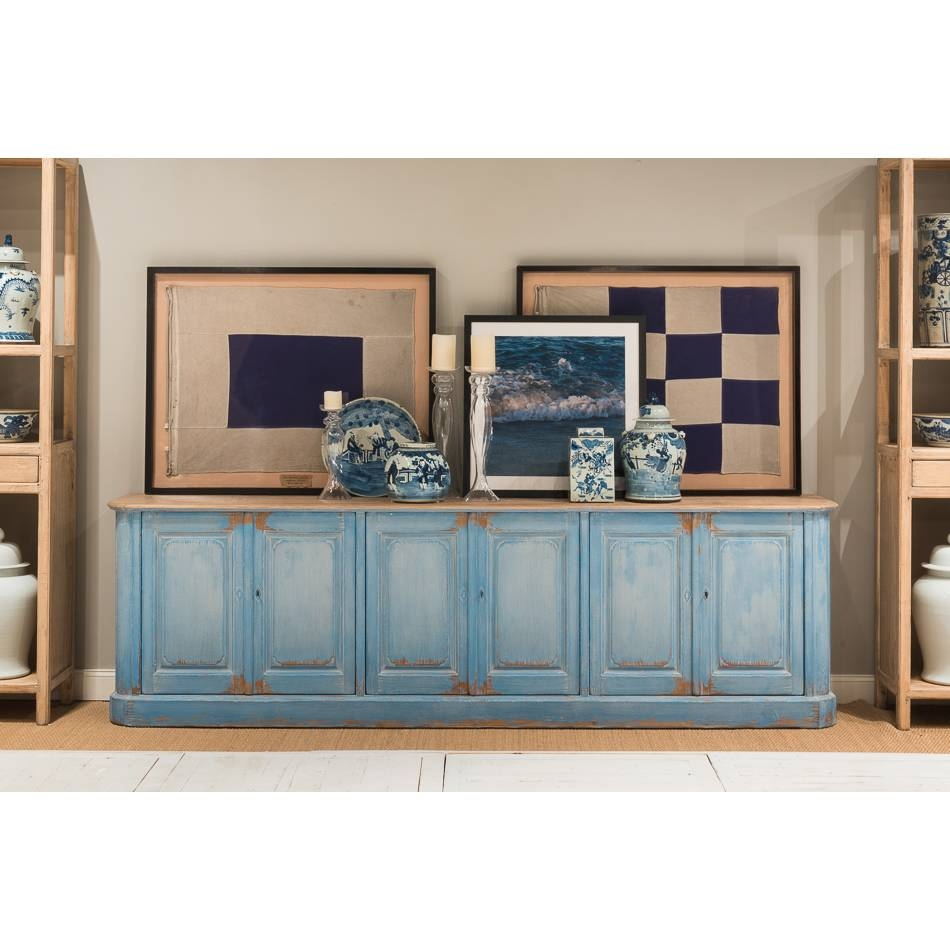 Extra Long Sky Blue Sideboard – Farmhouse Chic Pertaining To Most Up To Date Extra Long Sideboards And Buffets (#5 of 15)