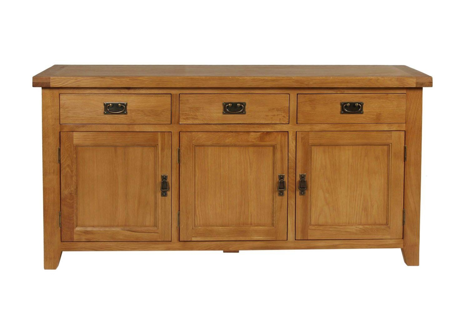 Farmhouse Country Oak 160cm Large Rustic Oak Sideboard Throughout Current Large Oak Sideboard (View 5 of 15)