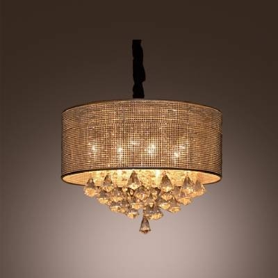 Fashion Style Metal Shades, Drum Crystal Lights – Beautifulhalo Regarding Recent Beaded Pendant Light Shades (#9 of 15)