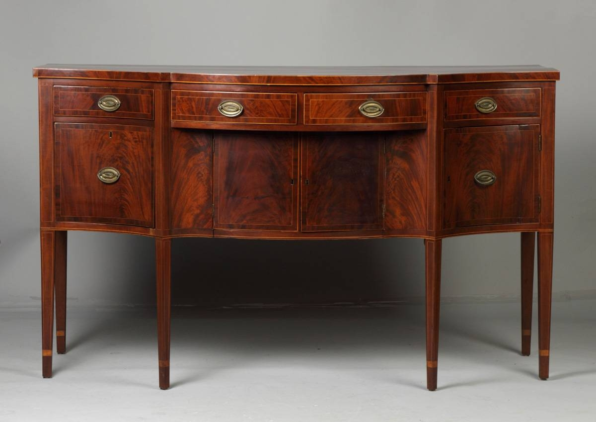 Fine Ny/new England Hepplewhite Serpentine Front Sideboard Intended For Current Hepplewhite Sideboards (#5 of 15)