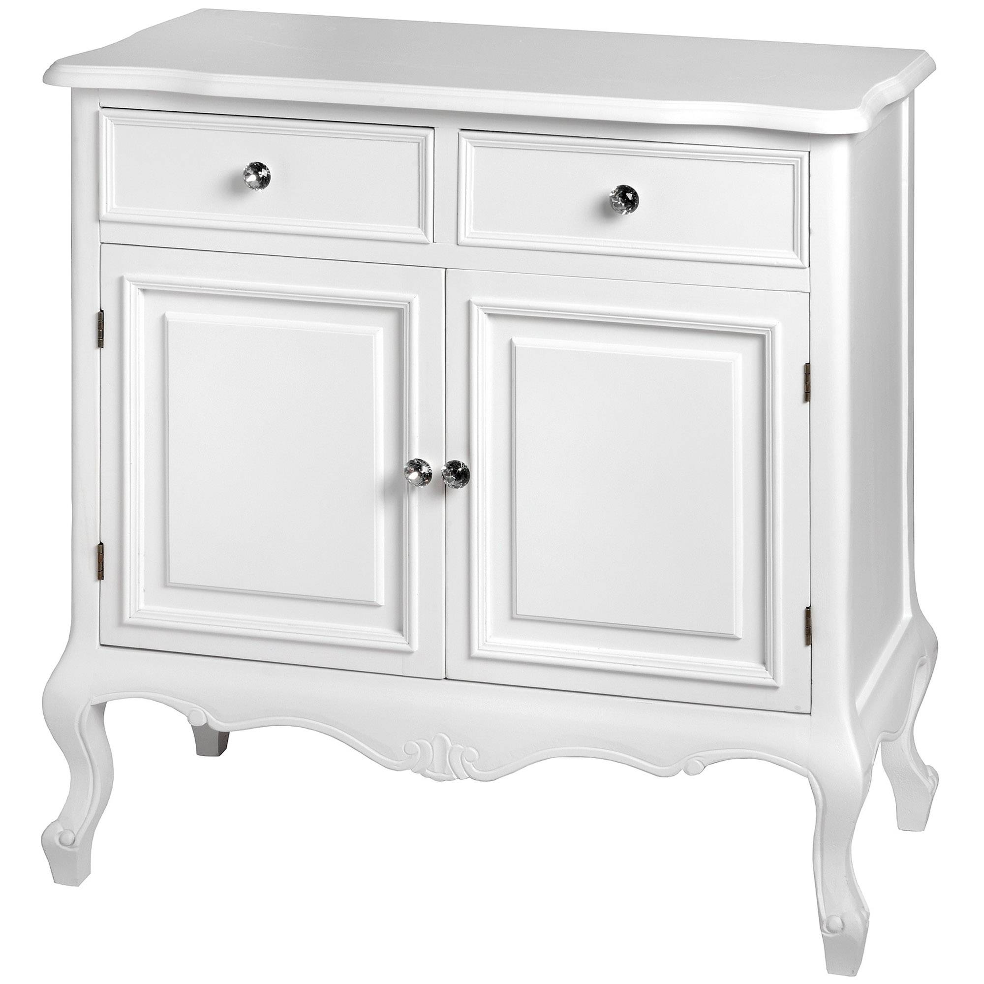 Fleur White 2 Drawer Shabby Chic Sideboard | Homesdirect365 In Current Shabby Chic Sideboards (#6 of 15)