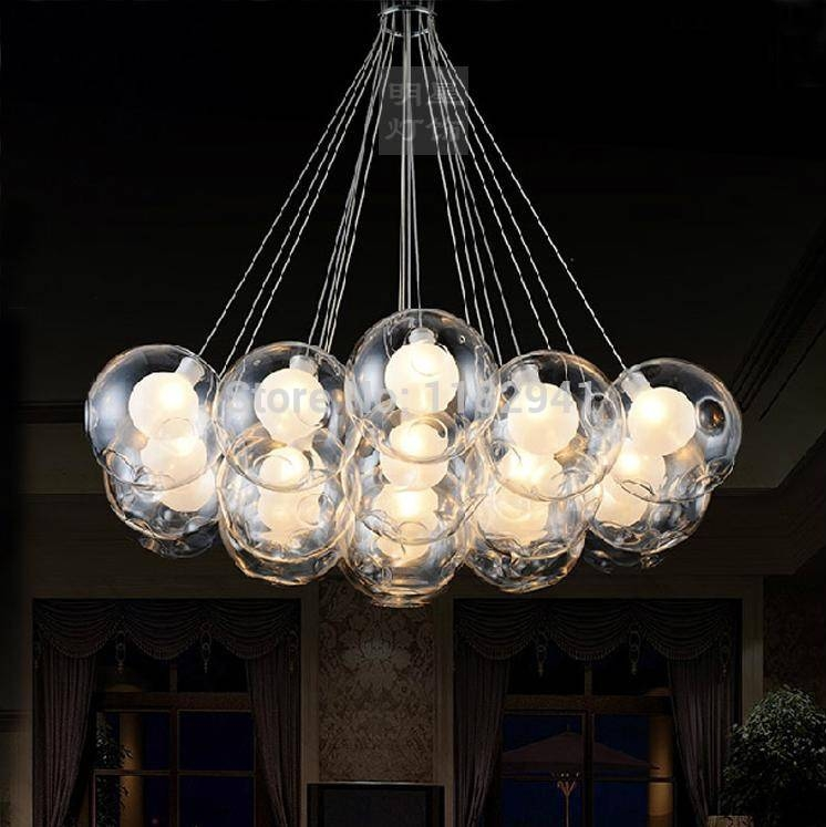 Free Shipping Modern Fashion Glass Bubble Pendant Light For Living Within Most Up To Date Glass Bubble Pendant Lights (#5 of 15)