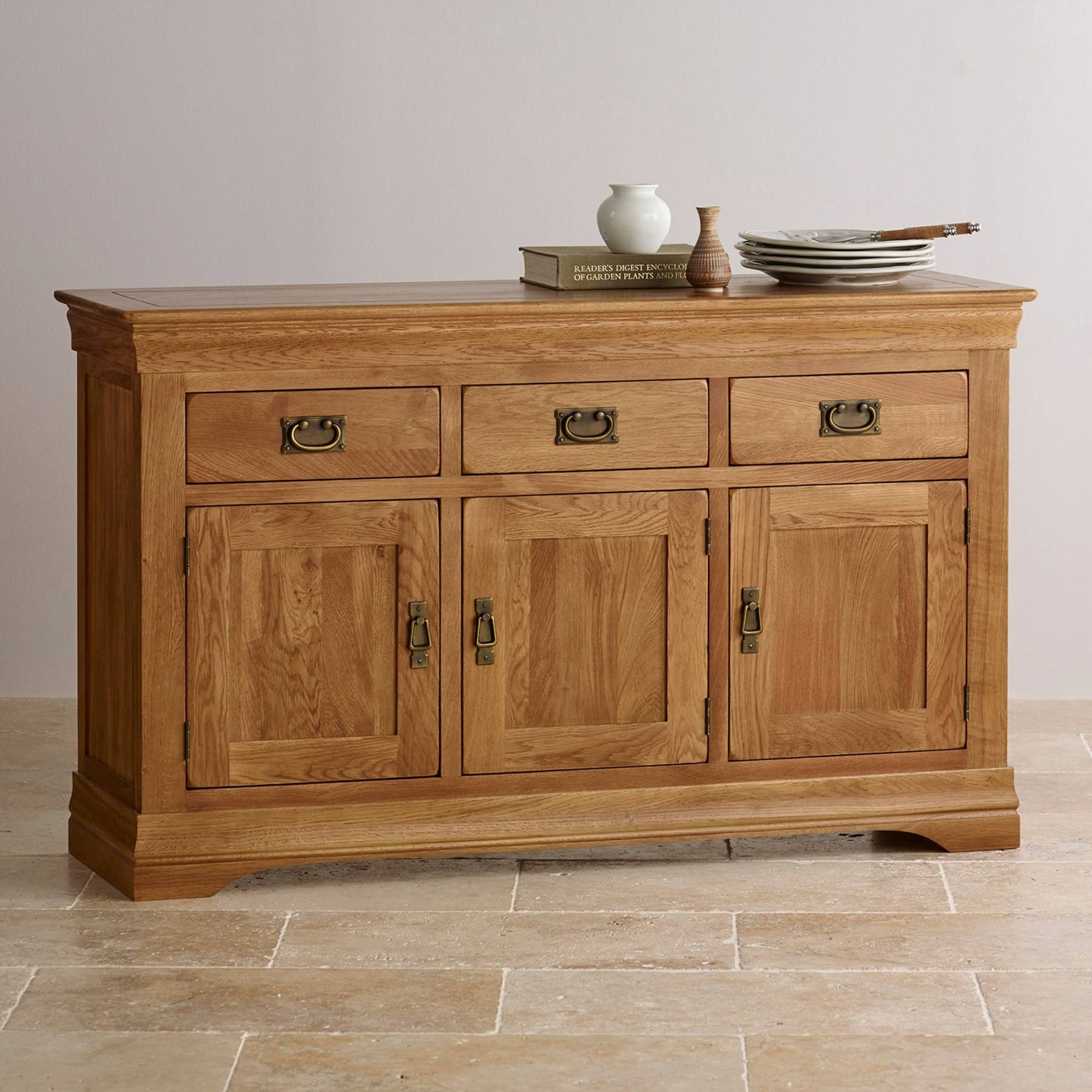 French Farmhouse Rustic Solid Oak Large Sideboard | Sideboards Intended For 2018 Rustic Oak Large Sideboards (#7 of 15)