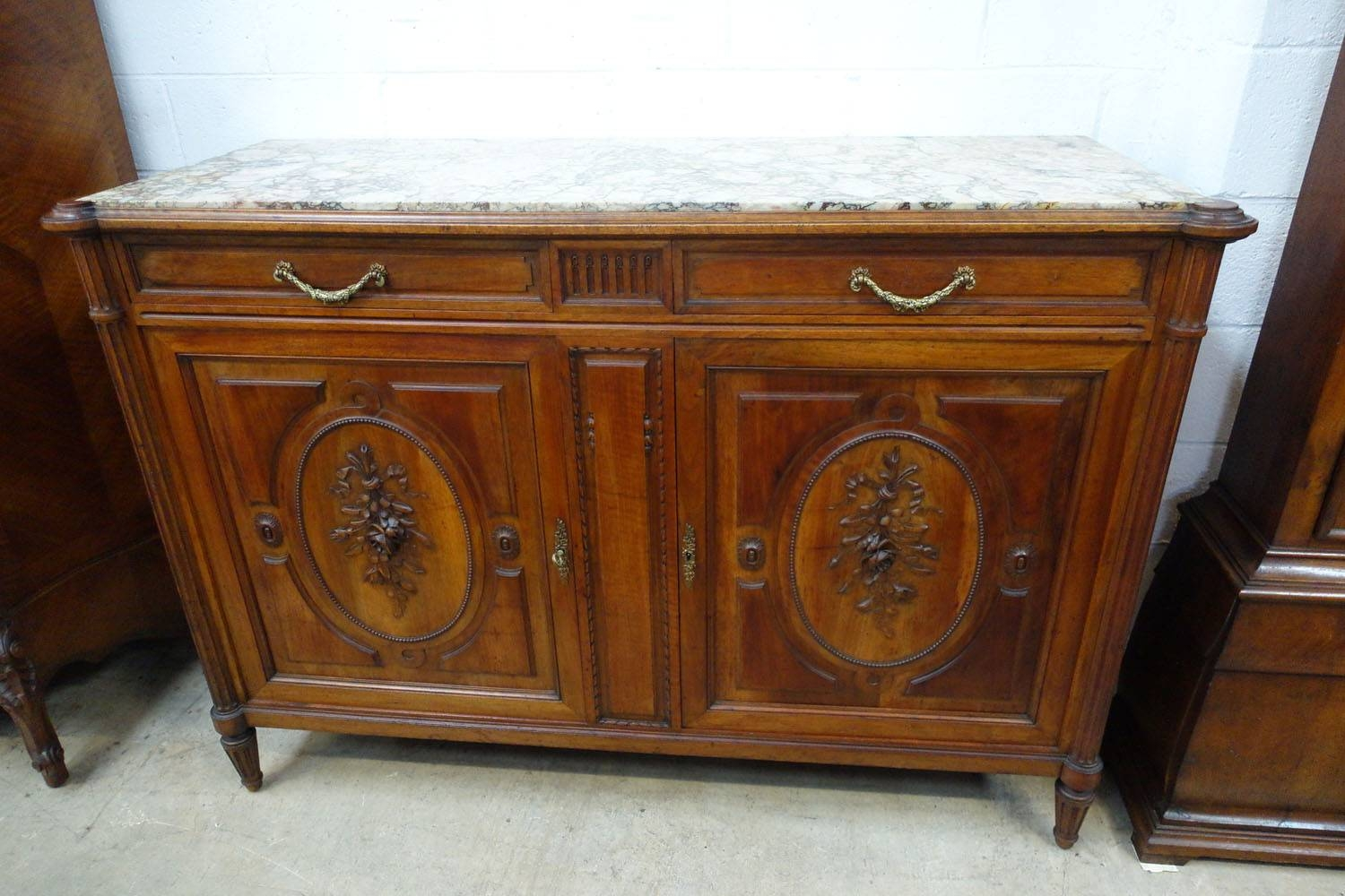 French Walnut Marble Top Sideboard – French Antiques Melbourne Regarding 2017 Antique Marble Top Sideboards (#8 of 15)