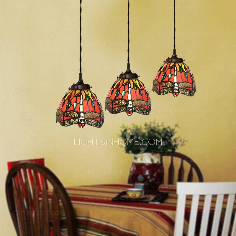 Funky 3 Light Dragonfly Pattern Tiffany Style Mini Pendant Lights Pertaining To Current Tiffany Style Pendant Light Fixtures (View 13 of 15)