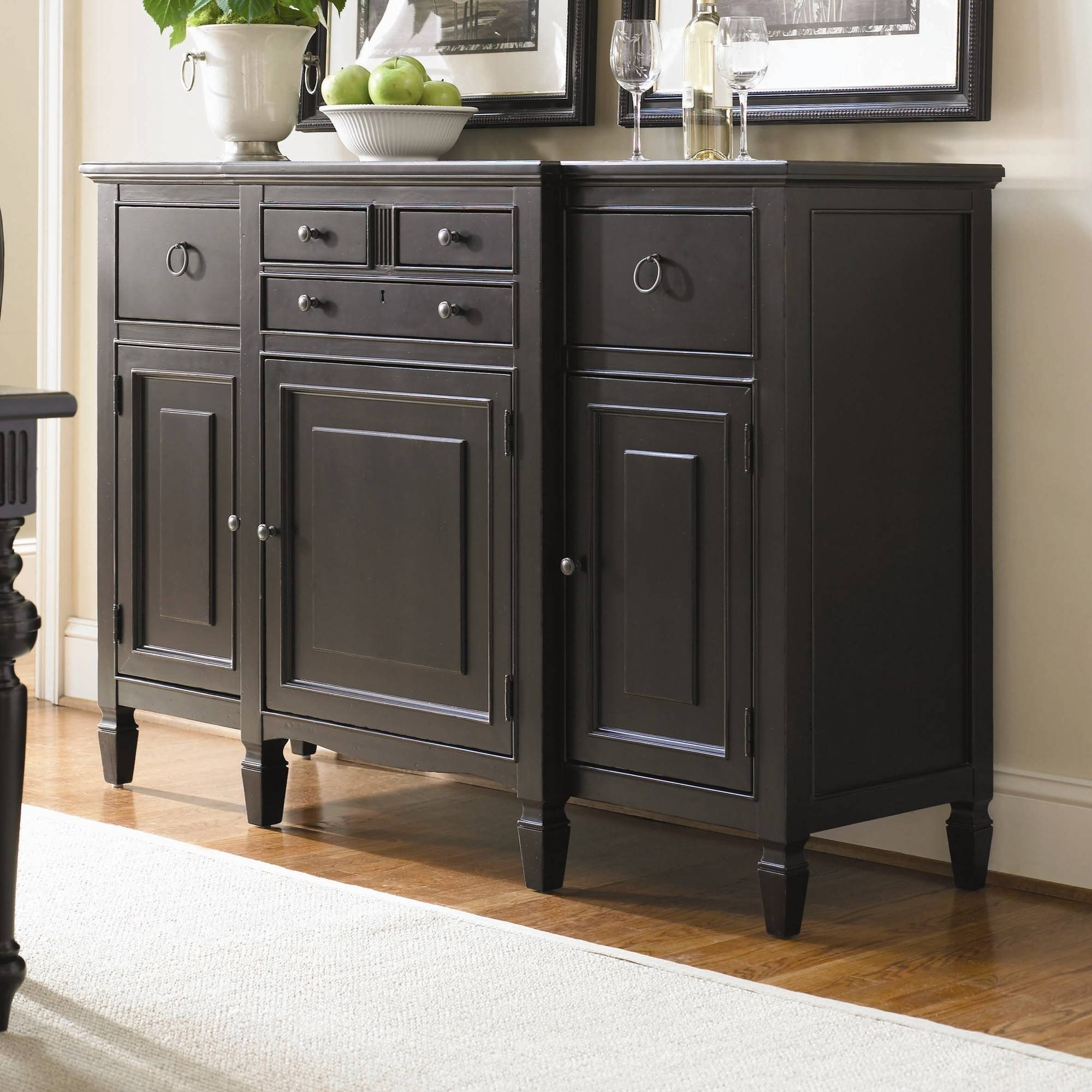 Furniture: Antique Dark Sideboard Buffet With Three Drawers On With Regard  To Most Recently Released