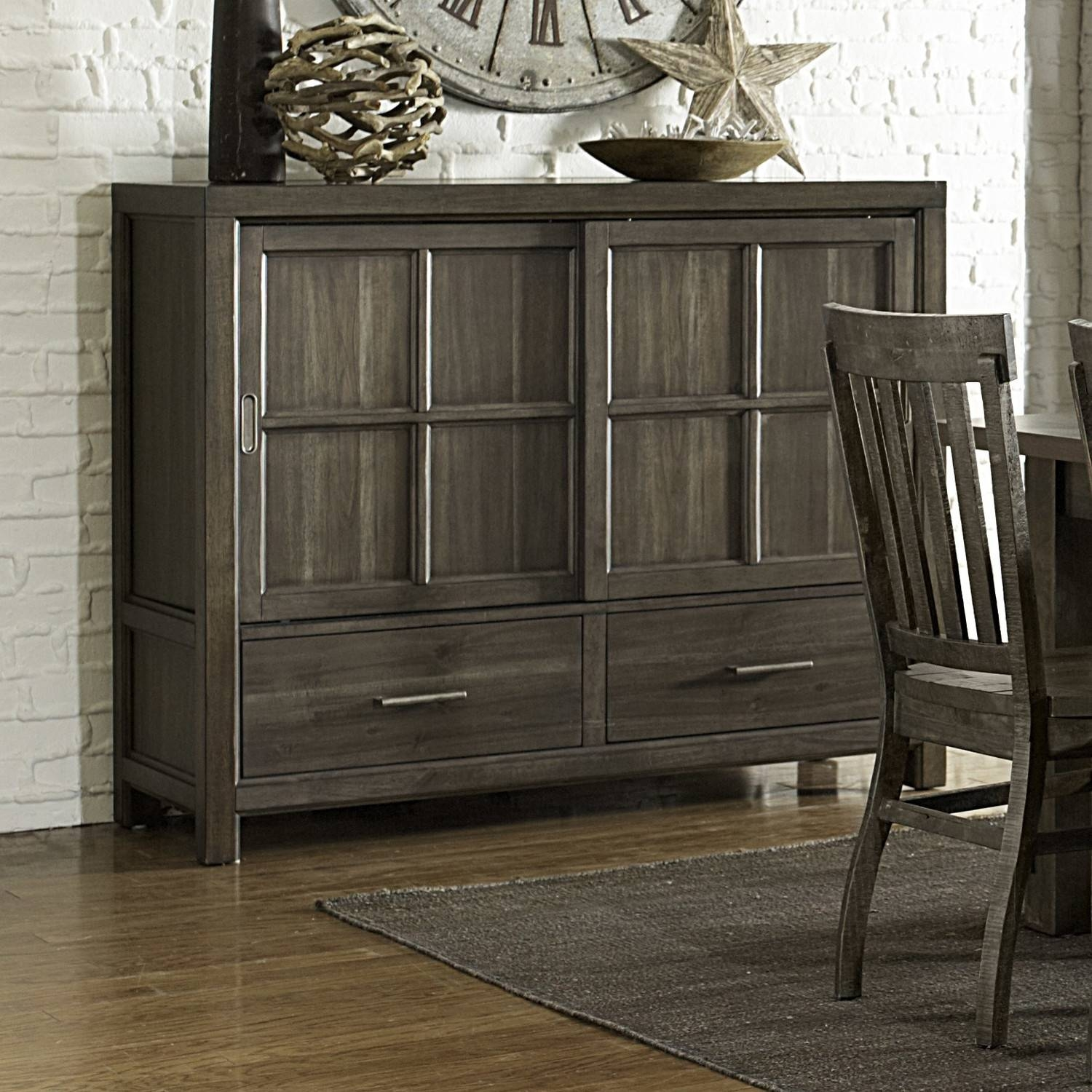 Furniture: Antique Dark Sideboard Buffet With Two Drawers On Kahrs Throughout Latest Glass Door Buffet Sideboards (#5 of 15)