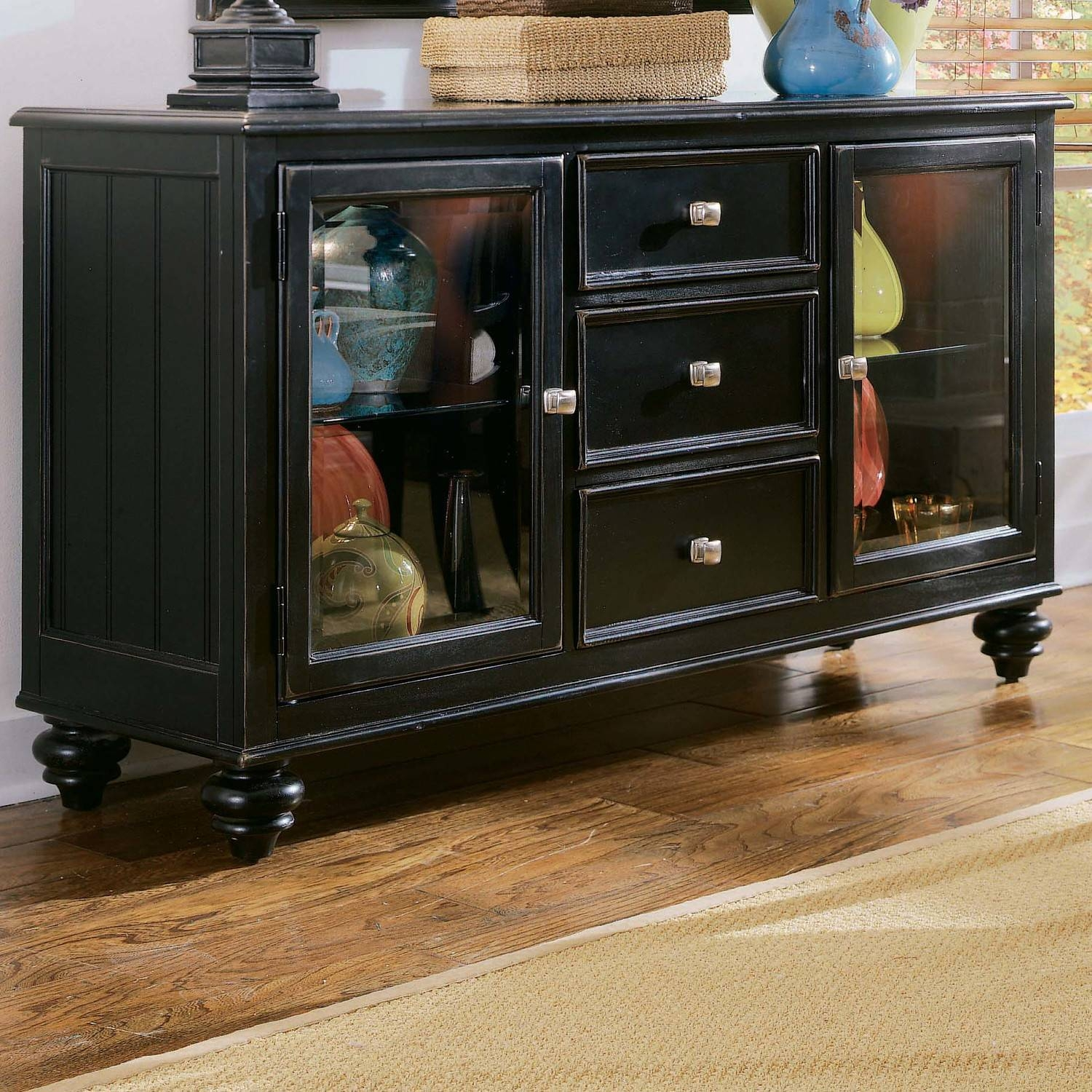 Furniture: Corner Sideboard Buffet On Kahrs Flooring And White In Newest Buffet Server Sideboards (#6 of 15)