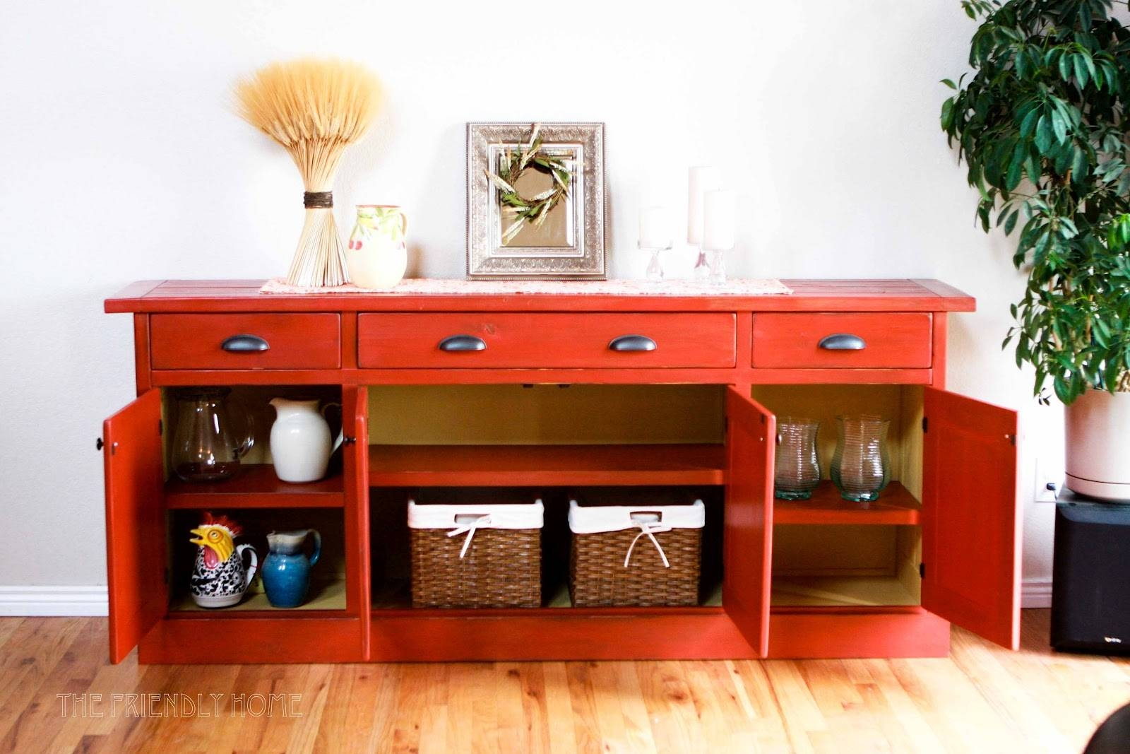 Furniture: Red Buffets And Sideboards And Limante Basket Wickers Regarding Recent Red Sideboards Buffets (#2 of 15)
