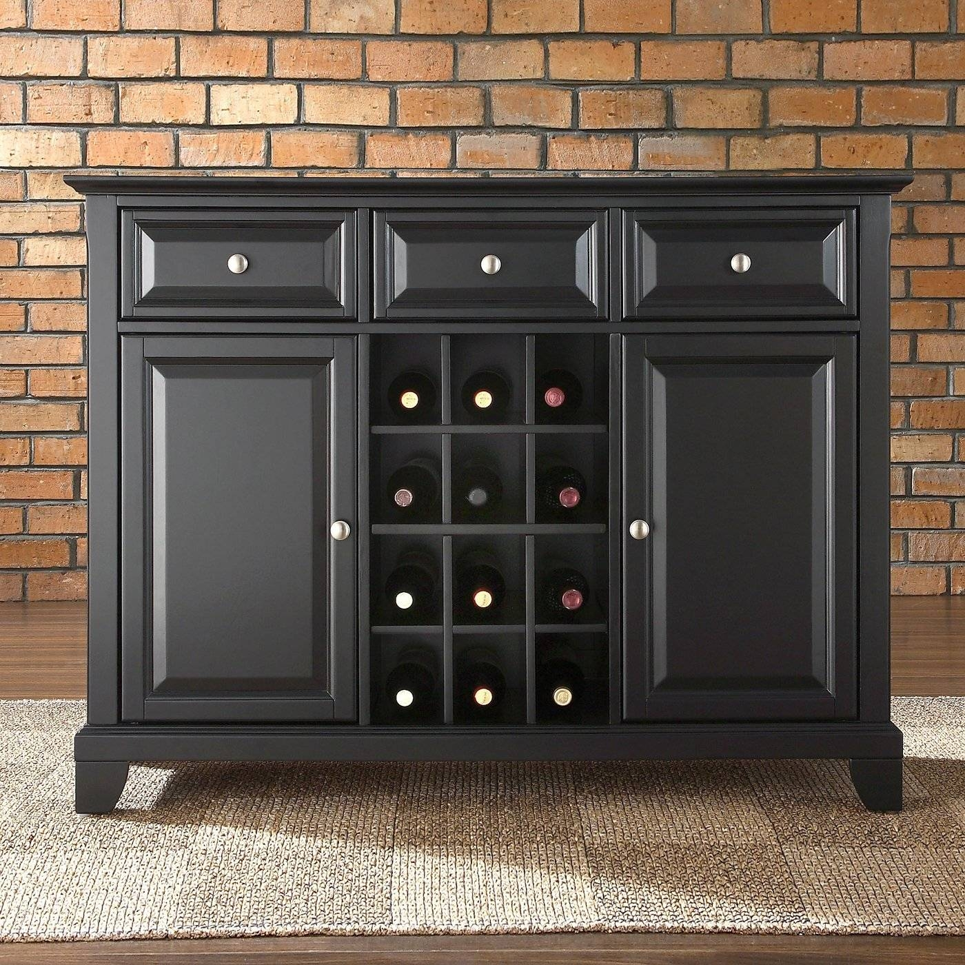 Furniture: Unique White Carpet With Buffet Sideboard And Brick Regarding Best And Newest Black Buffet Sideboards (#4 of 15)