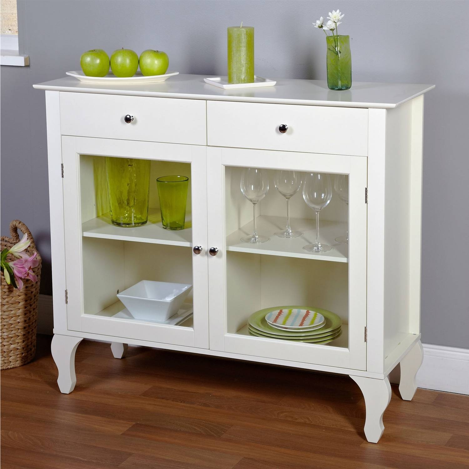 Furniture: White Sideboard Buffet With Two Drawers And Glass Door Inside Newest Glass Buffet Table Sideboards (#6 of 15)