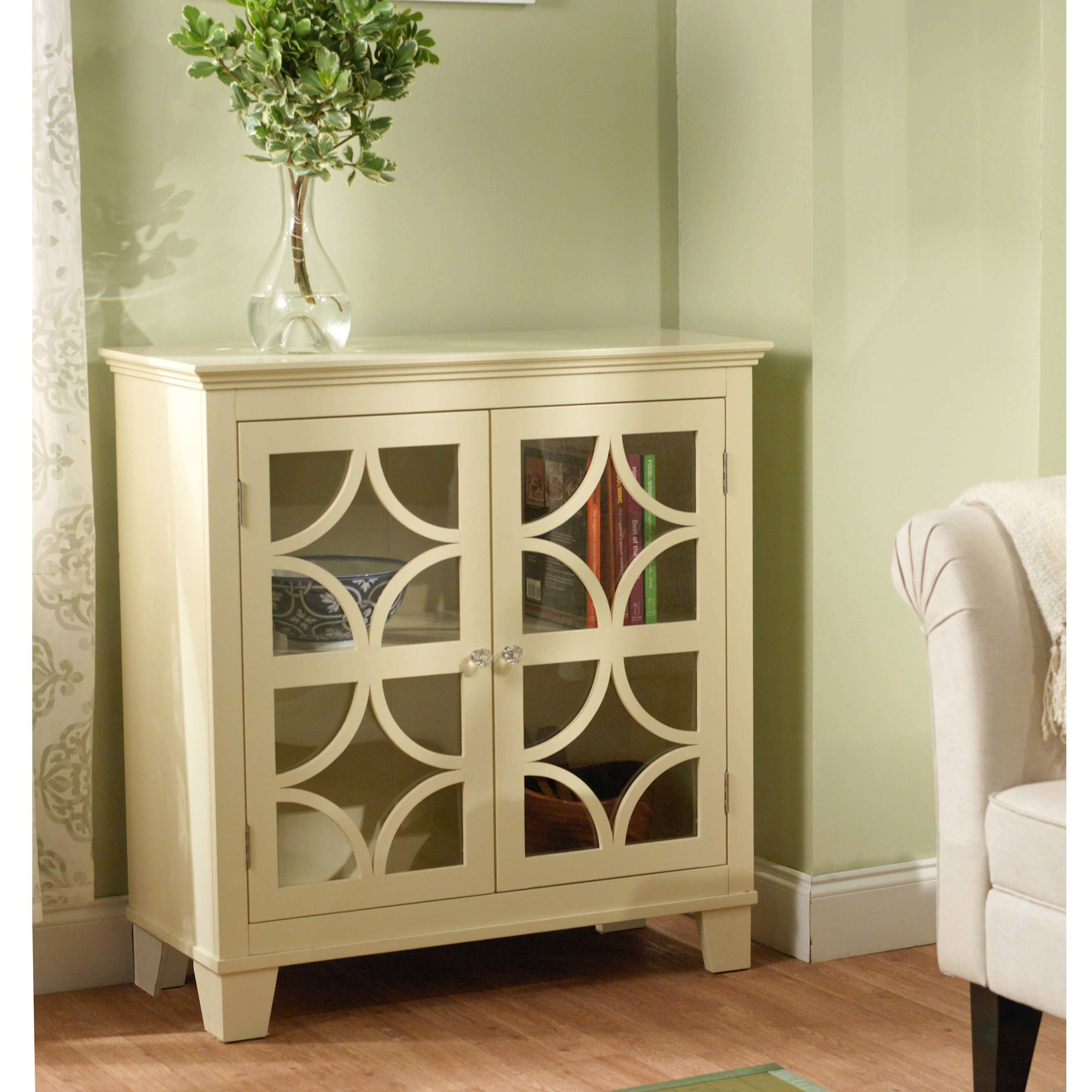 Furniture: White Sideboard Buffet With Two Drawers And Glass Door With Regard To Most Recently Released White Sideboards With Glass Doors (#5 of 15)