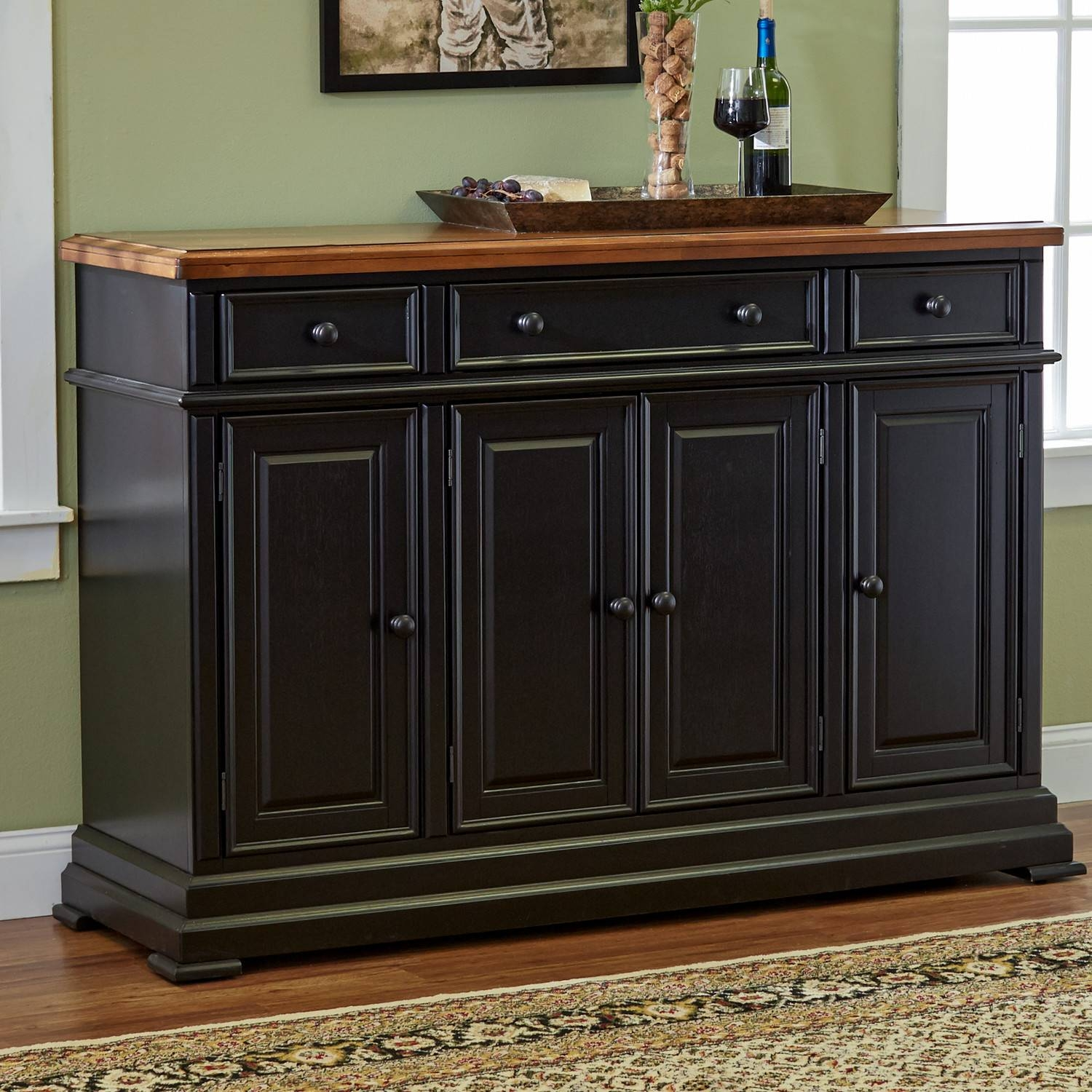 Furniture: White Sideboard Buffet With Unique Black Table Lamp And Pertaining To Most Current Black Buffet Sideboards (#6 of 15)