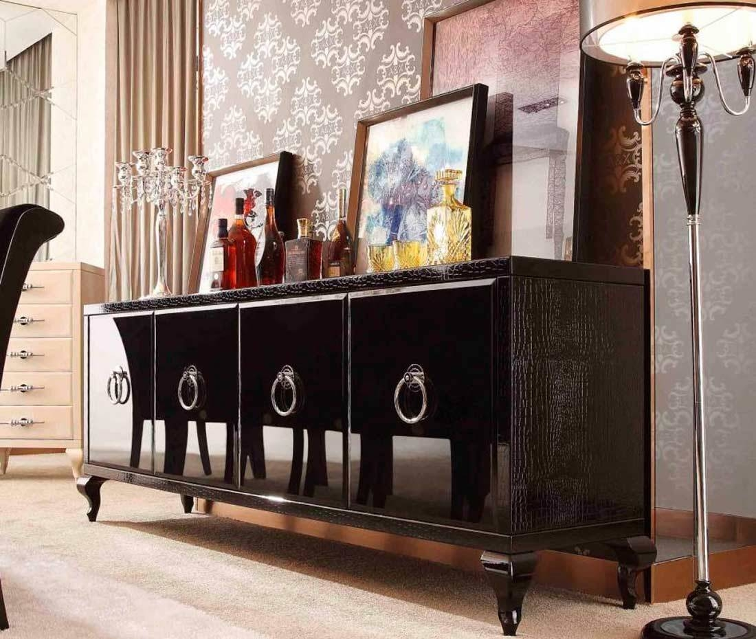 Glamour Black Sideboard | Modern Buffets Stations With Regard To Latest Black Sideboards And Buffets (#4 of 15)