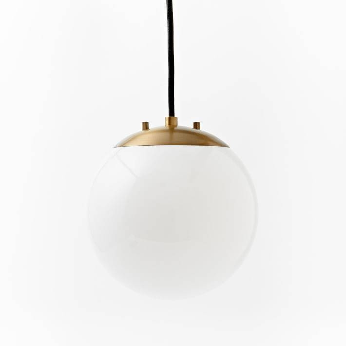 Globe Pendant – Antique Brass/milk Finish | West Elm For 2018 Globe Pendant Light Fixtures (View 6 of 15)