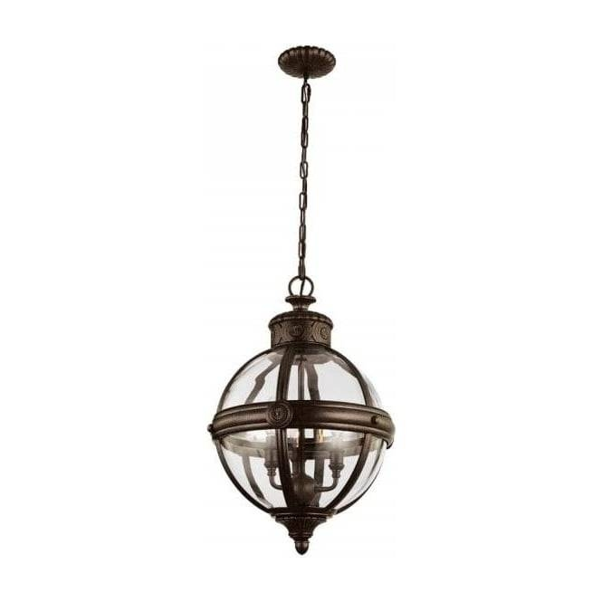 Globe Shaped Clear Glass Ceiling Pendant Light With Bronze Within Most Up To Date Bronze Globe Pendant Lights (#11 of 15)