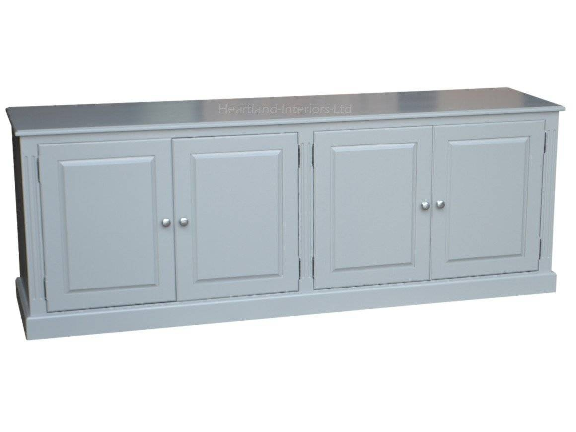 Grey, Cream Or White Painted 7Ft Wide Low Storage Wooden Sideboard Inside Most Current Low Wide Sideboards (#5 of 15)