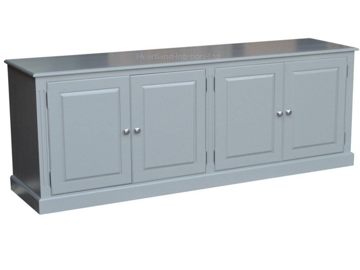 Grey, Cream Or White Painted 7Ft Wide Low Storage Wooden Sideboard Regarding Best And Newest Low Wide Sideboards (#6 of 15)