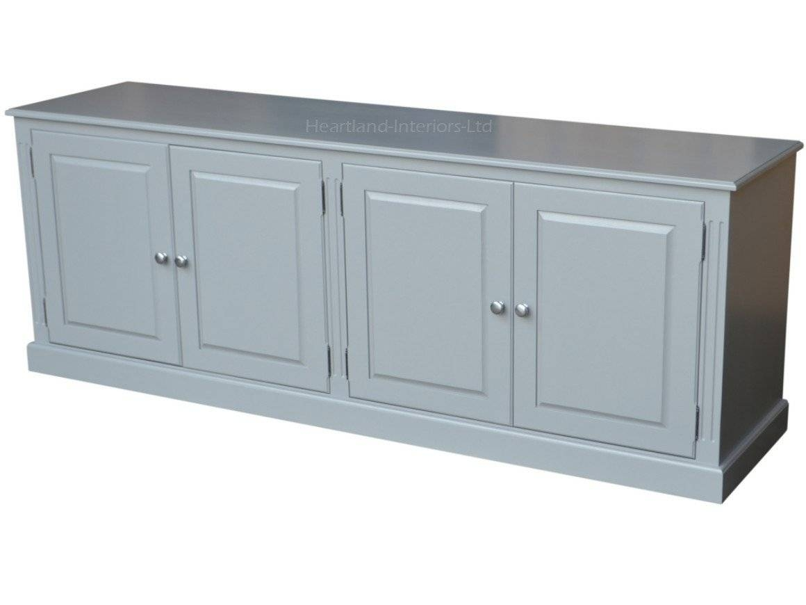 Grey, Cream Or White Painted 7Ft Wide Low Storage Wooden Sideboard Regarding Current Low Wide Sideboards (#7 of 15)