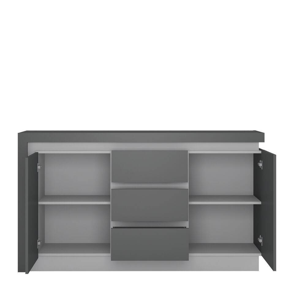 Inspiration about Grey High Gloss 2 Door 3 Drawer Sideboard – Homegenies With Recent High Gloss Grey Sideboards (#1 of 15)