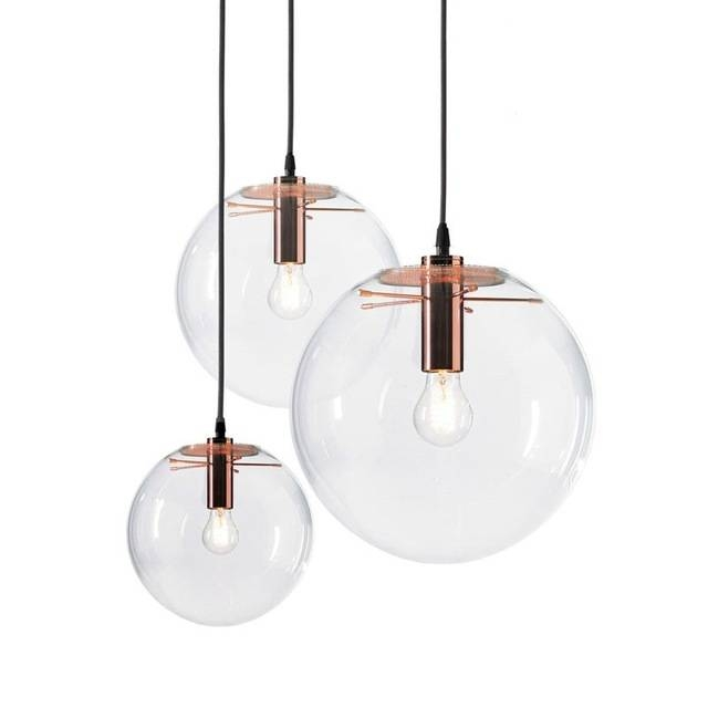 Inspiration about Gzmj Modern Nordic Rose Gold Black Glass Ball Pendant Light Lamp In Most Recent Glass Ball Pendant Lights (#7 of 15)