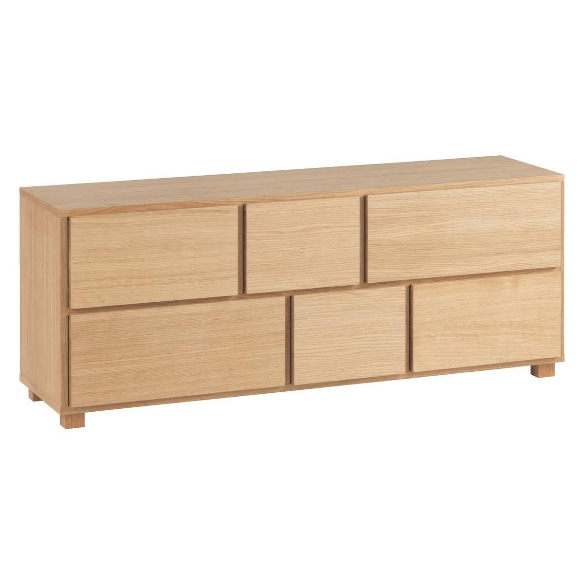 Hana Ii Oiled Oak 6 Drawer Low Wide Chest | Buy Now At Habitat Uk Pertaining To 2017 Low Wide Sideboards (#8 of 15)