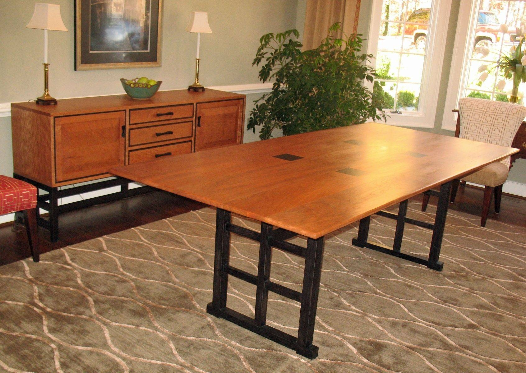 Hand Crafted Curly Cherry Dining Table And Sideboardgo Figured Intended For Best And Newest Dining Room Sets With Sideboards (#8 of 15)