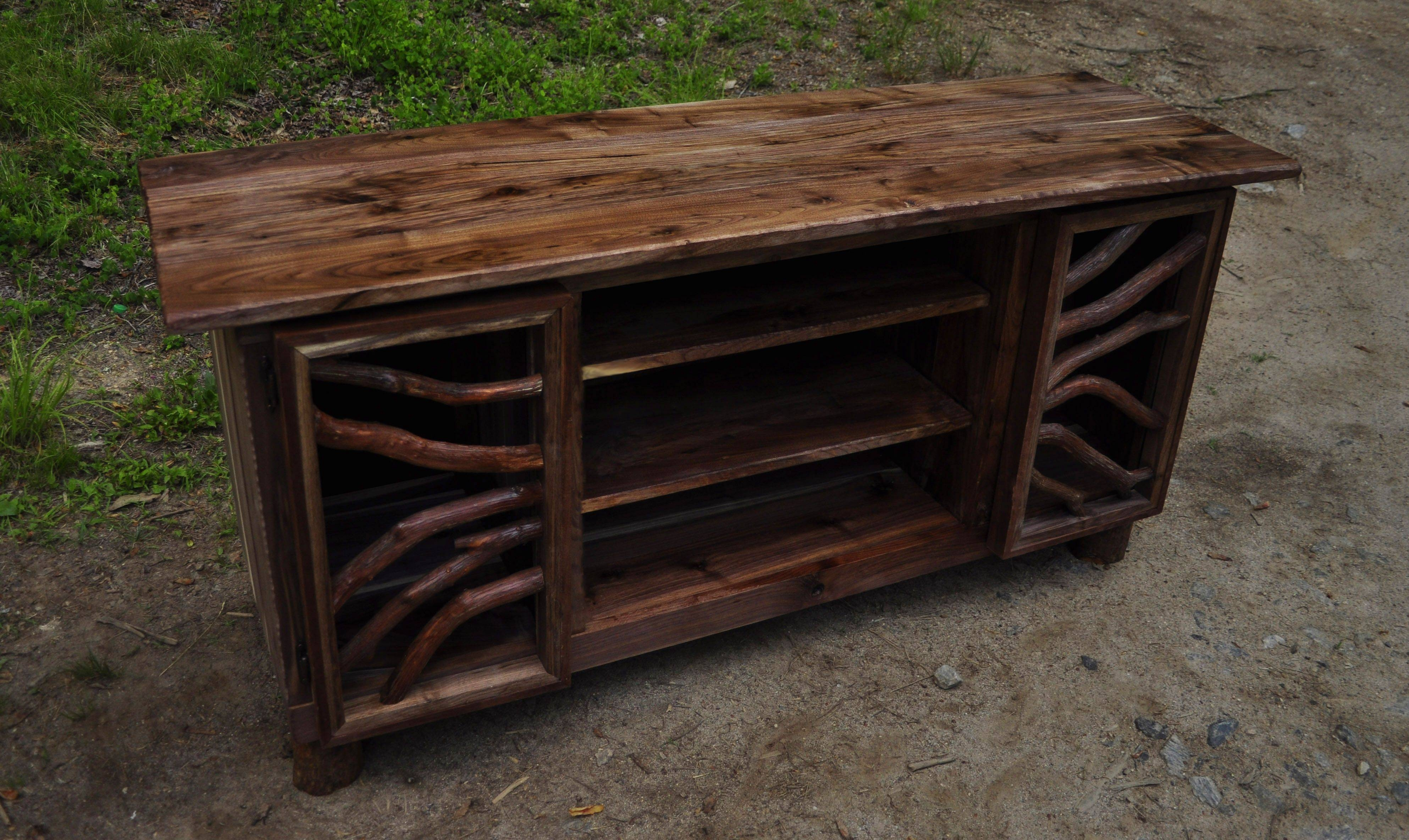 Hand Made Rustic Walnut Wood Tv Media Entertainment Center Intended For Most Recent Sideboard Buffet Tables (#10 of 15)