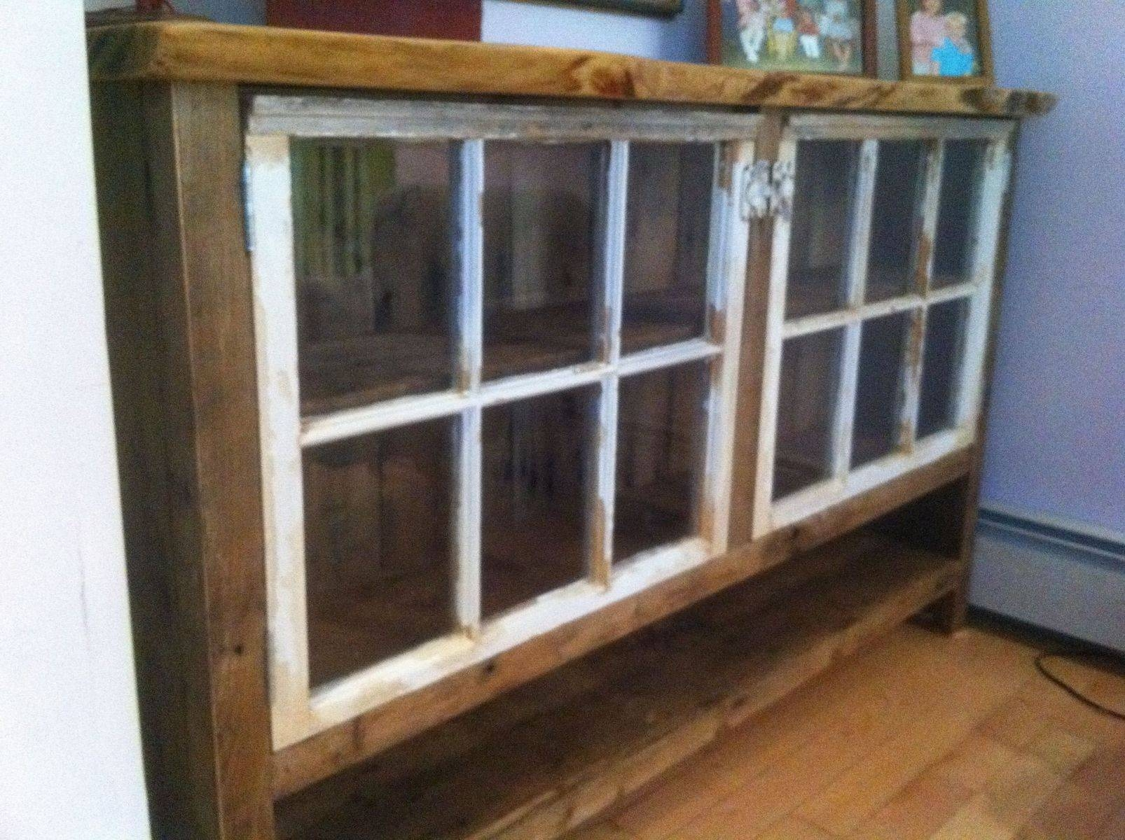 Handmade Reclaimed Wood Sideboard With Recycled Windowswooden Throughout Most Popular Reclaimed Wood Sideboards (#3 of 15)