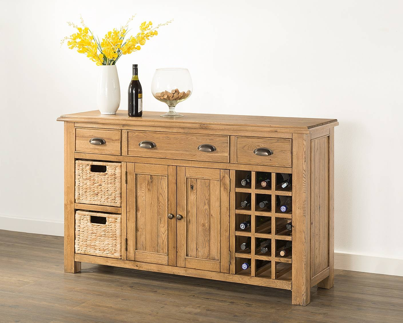 Hartford Large Sideboard With Wine Rack & Baskets (60 15) – Papaya In Recent Sideboards With Wine Rack (#5 of 15)