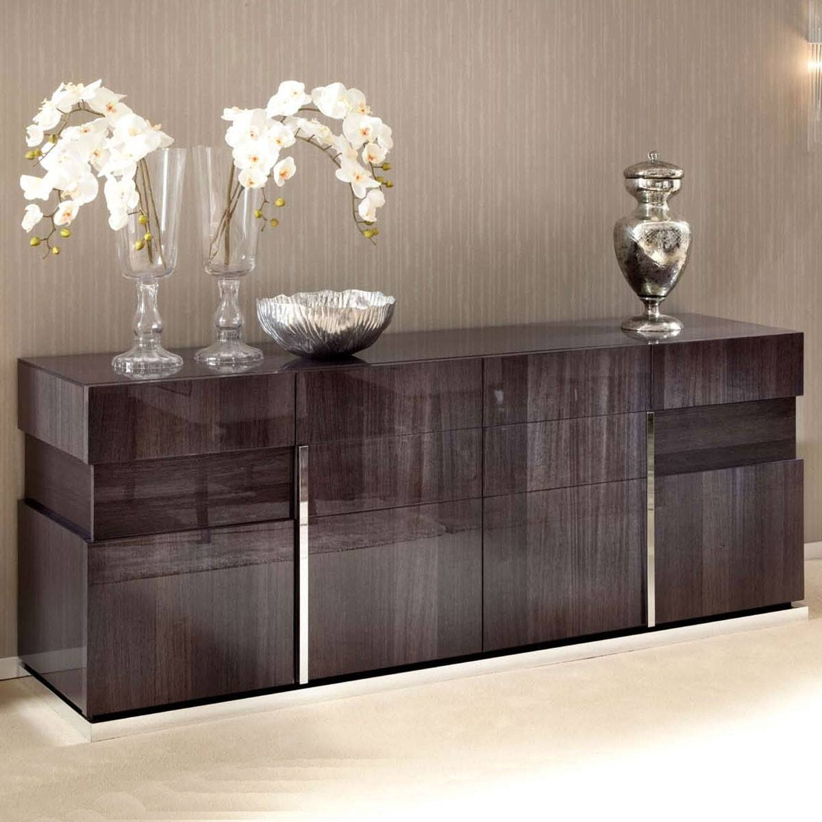High Gloss 4 Door Sideboard With Current Gloss Sideboards (#5 of 15)
