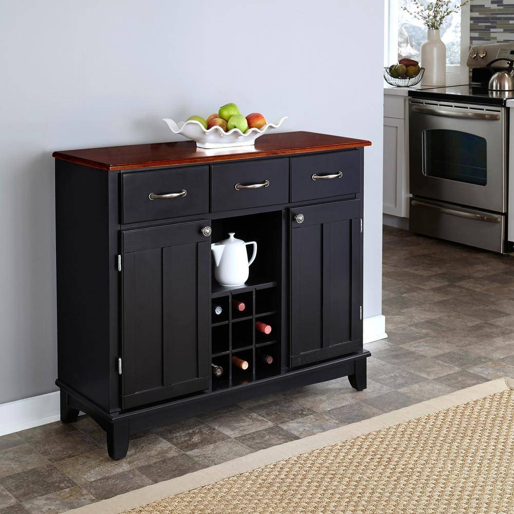 Home Styles Black And Cherry Buffet With Wine Storage 5100 0042 Intended For Most Up To Date Black Sideboards And Buffets (#10 of 15)