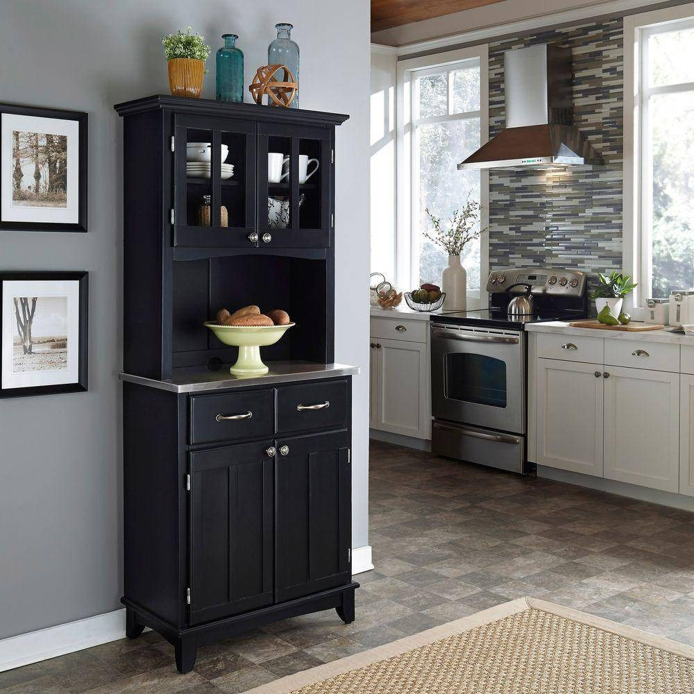 Home Styles Black And Stainless Steel Buffet With Hutch 5001 0043 With Most Up To Date 42 Inch Sideboards (#5 of 15)