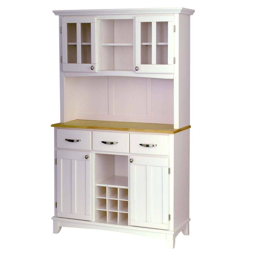 Home Styles White Buffet With Hutch 5100 0023 22 – The Home Depot In Most Popular Sideboards And Hutches (View 8 of 15)