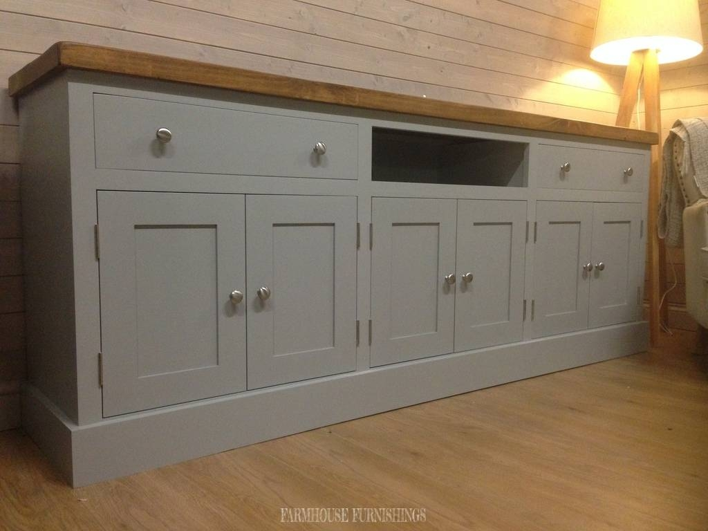 Huge 7Ft Plank Top Sideboard/tv Unit | Farmhouse Furnishings Intended For Most Up To Date Sideboards And Tv Units (#6 of 15)