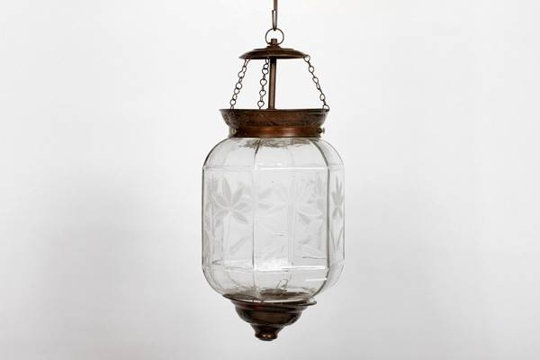 Indian Etched Glass Hanging Lamp – Lighting Within Most Current Etched Glass Pendant Lights (#13 of 15)