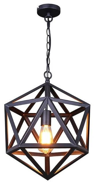 Iron Cage Pendant Light, Matte Black – Industrial – Pendant With Regard To Most Recently Released Bronze Cage Pendant Lights (#10 of 15)