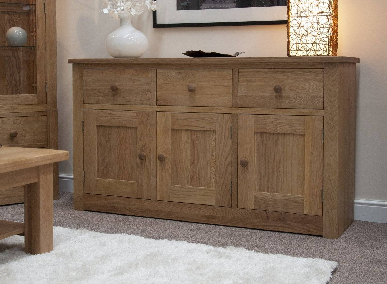 Kingston Solid Oak Living Dining Room Furniture Large Storage Pertaining To Best And Newest Solid Oak Sideboards (#7 of 15)