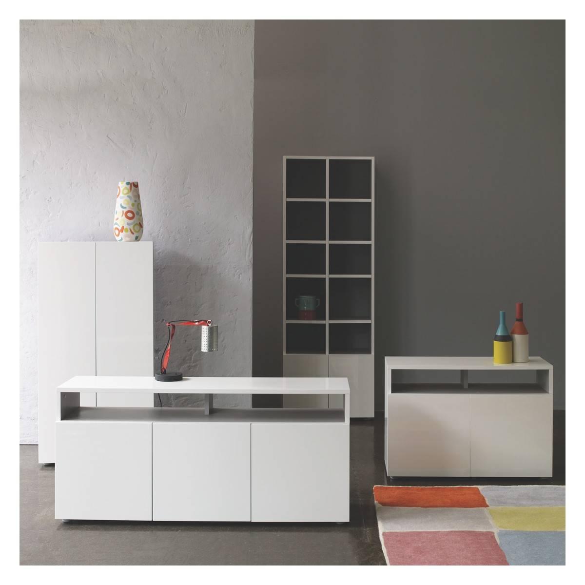 Kubrik White High Gloss Tall Shelving Unit | Buy Now At Habitat Uk Regarding Recent High Gloss Grey Sideboards (View 6 of 15)