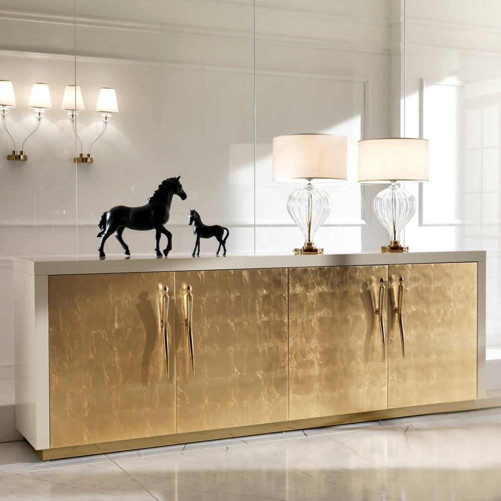 Large High End Gold Leaf Sideboard | Juliettes Interiors – Chelsea Inside Most Popular Gold Sideboards (#8 of 15)