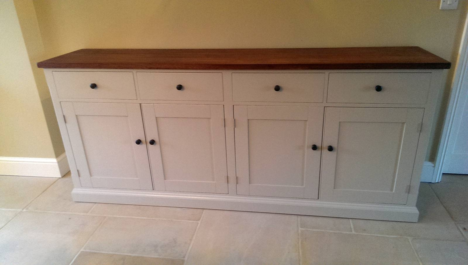Large Painted Sideboard With Oak Top – Solid Wood & Painted Made In 2017 Solid Oak Sideboards For Sale (#4 of 15)