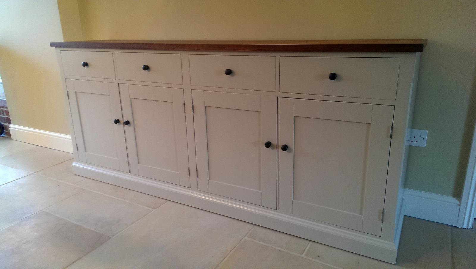 Large Painted Sideboard With Oak Top – Solid Wood & Painted Made Pertaining To 2018 Bespoke Sideboards (#7 of 15)